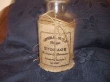GOOD SIZE THICK HEAVY GLASS STORAGE JAR WITH HESSIAN LABEL GENERAL STORE 8""